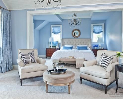 Голубой интерьер спальни