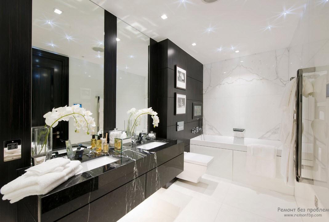 Дизайн ванной комнаты, оформленной в черно-белом сочетании