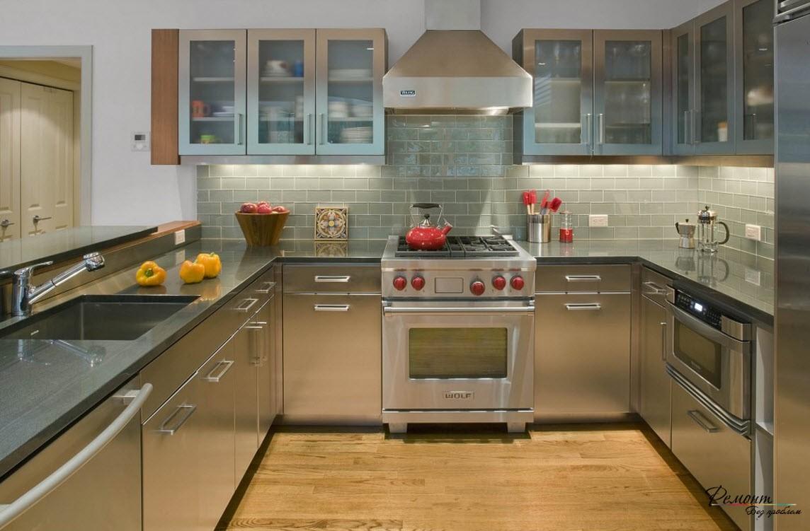 Стальная кухня фото интерьера