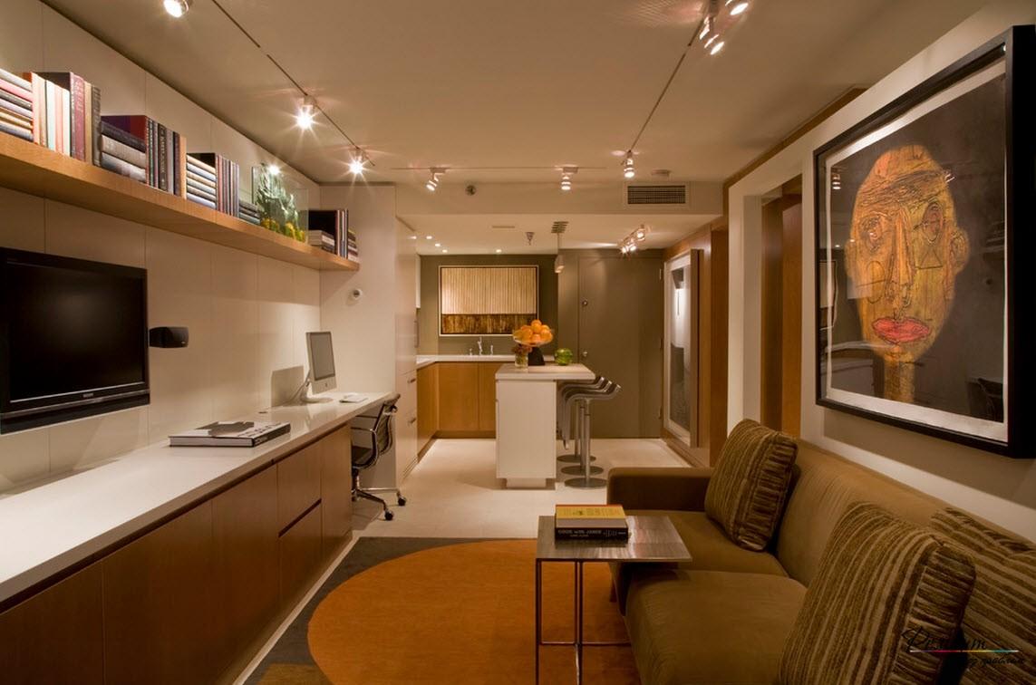 С помощью искусно выполненного дизайна потолка и стен, достигается визуальное увеличение пространства