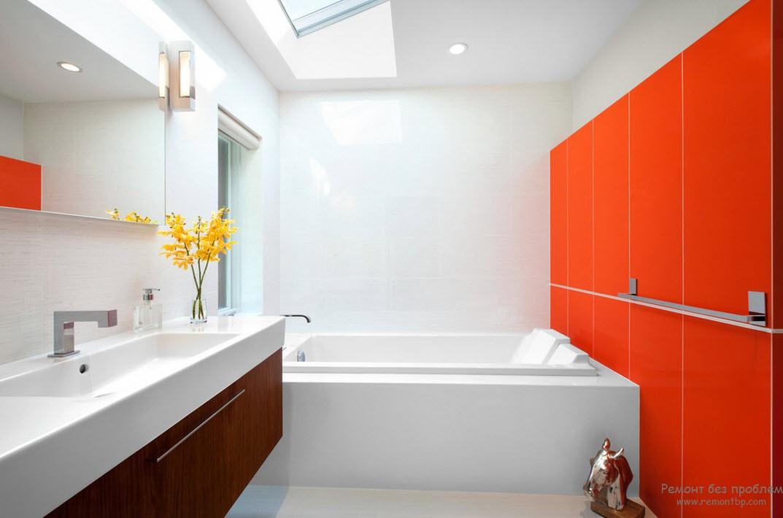 Белый и оранжевый цвета для ванной