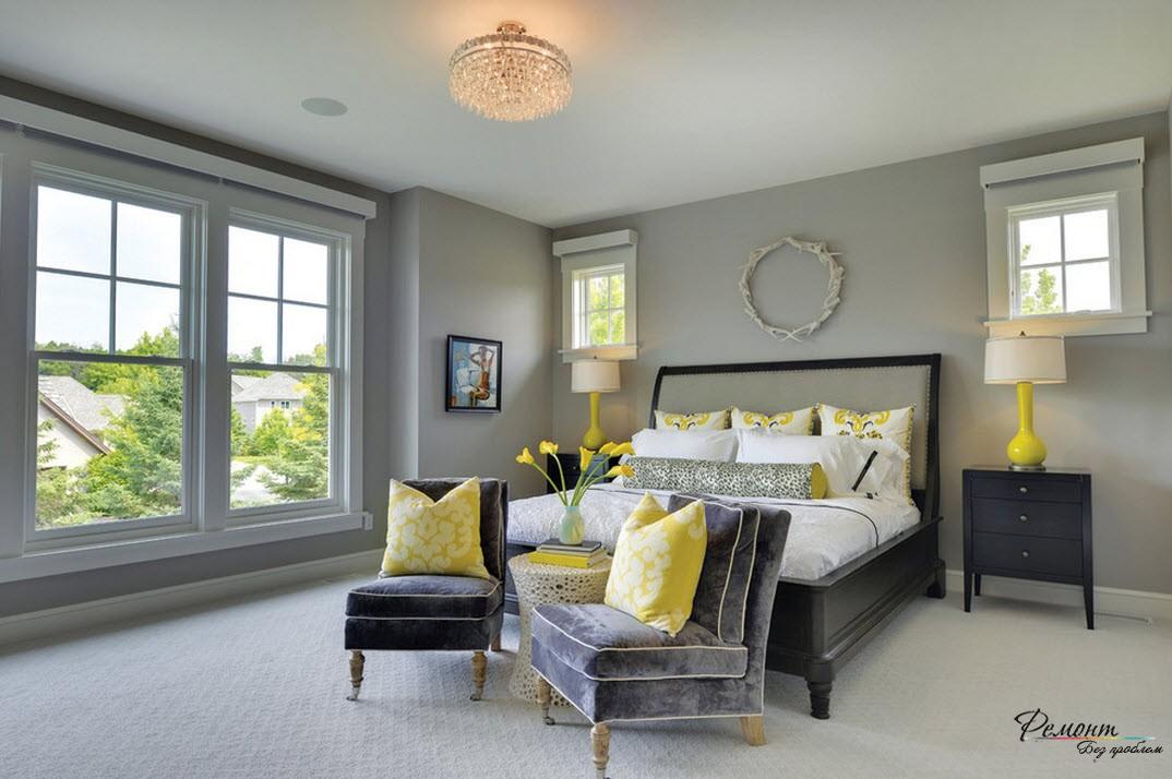 Серый и желтый цвета в интерьере