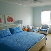 Голубая кровать в спальной