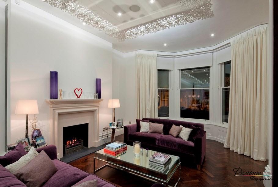 Гостиная в фиолетовом оформлении