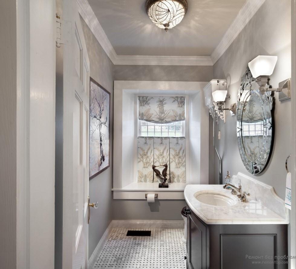 Светлый жемчужный оттенок серого очень выигрышно смотрится в интерьере ванной комнаты