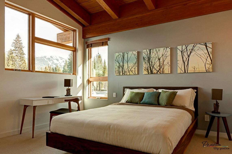 Картины над кроватью в интерьере спальни