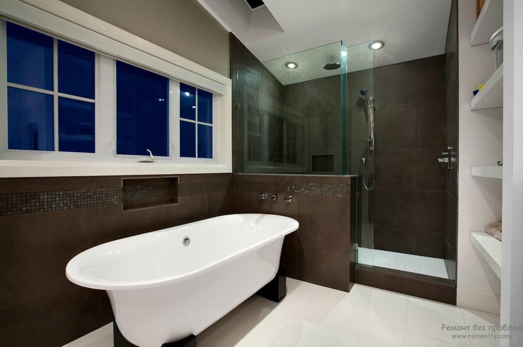 Оттенок горького шоколада в интерьере ванной комнаты