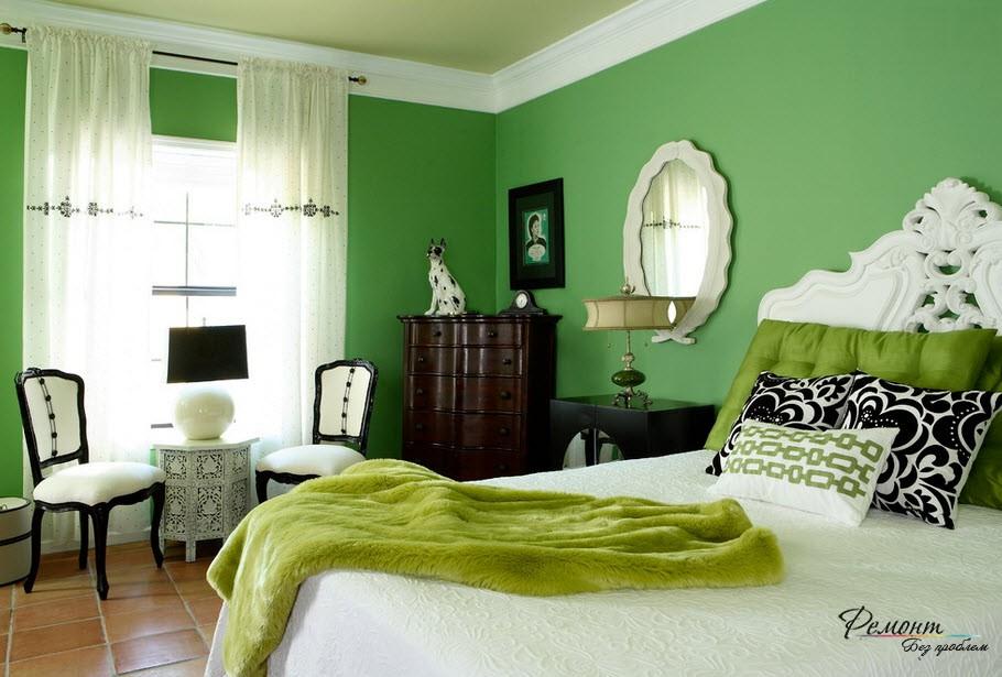 Интерьер в зелено-черном оформлении