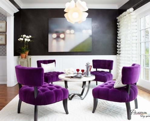 Черно-фиолетовый интерьер