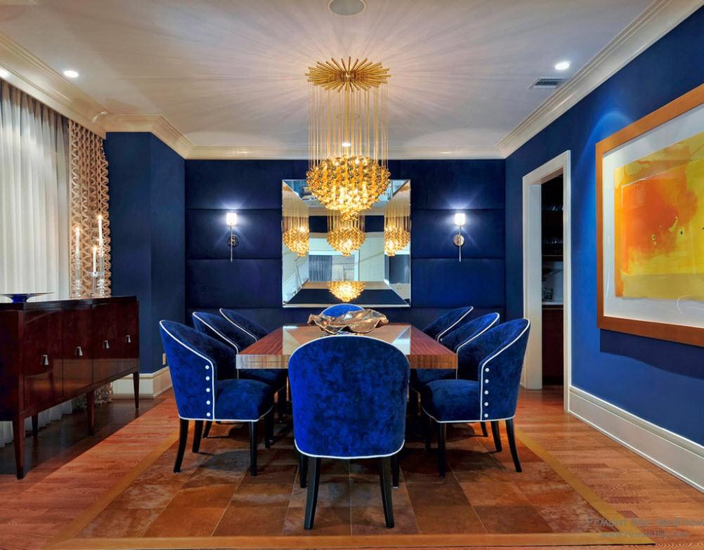 Интерьер кухни в синих цветах