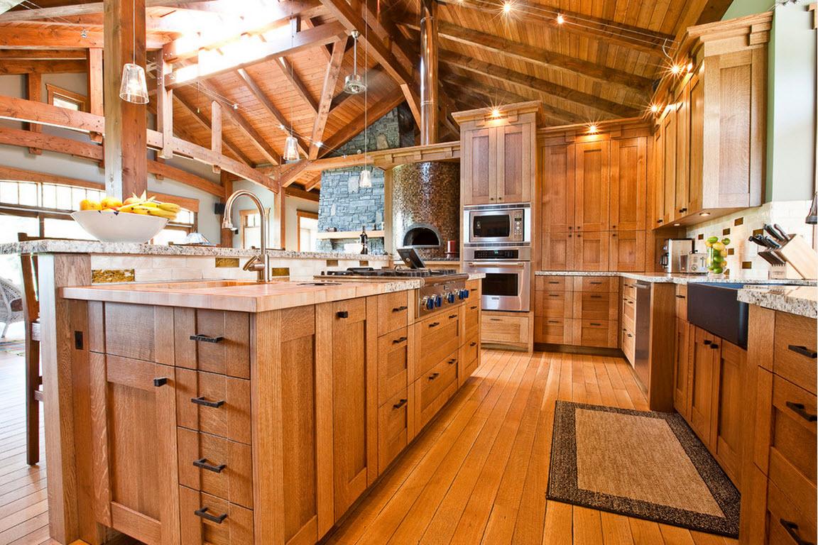 Максимум дерева в кухонном дизайне