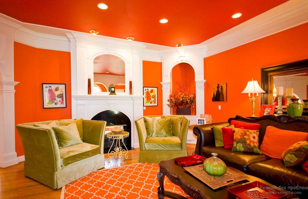 Зеленый и оранжевый цвета в интерьере