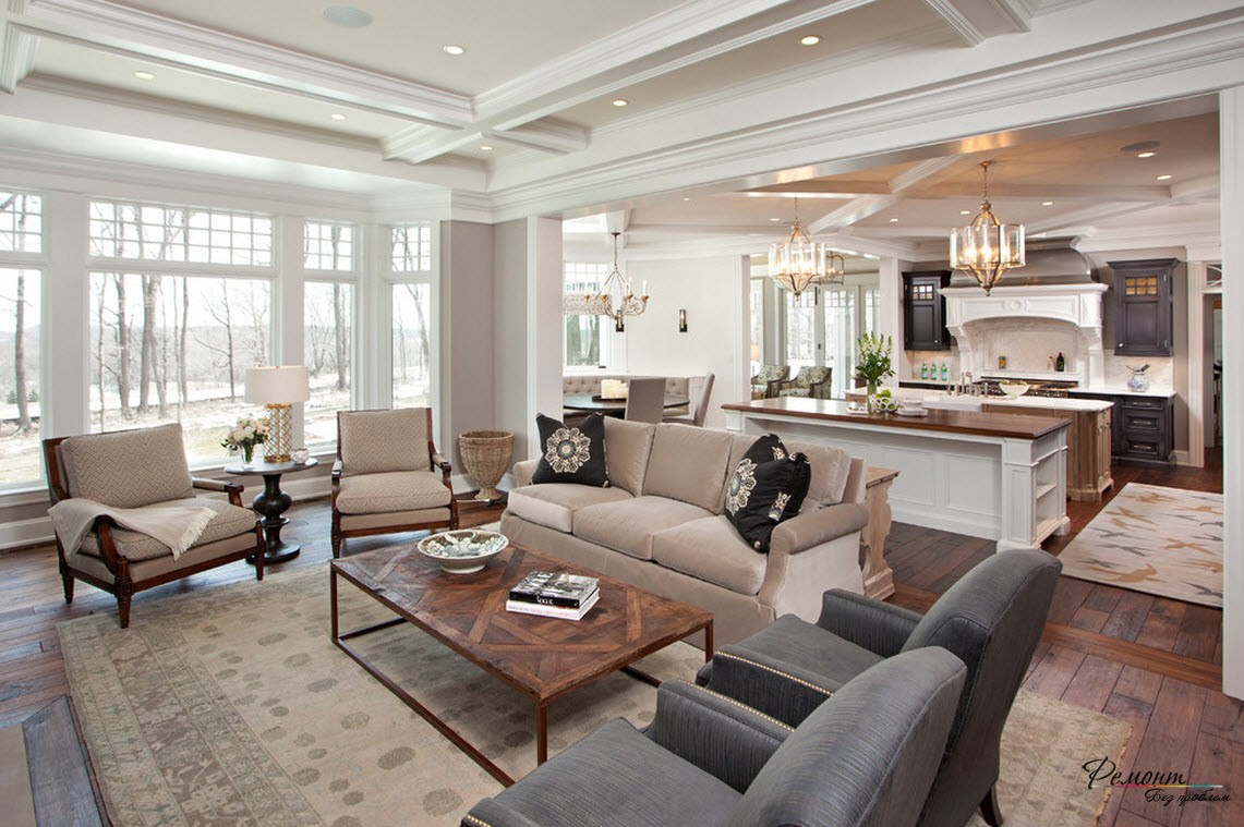 дизайн фото гостиная кухня столовая