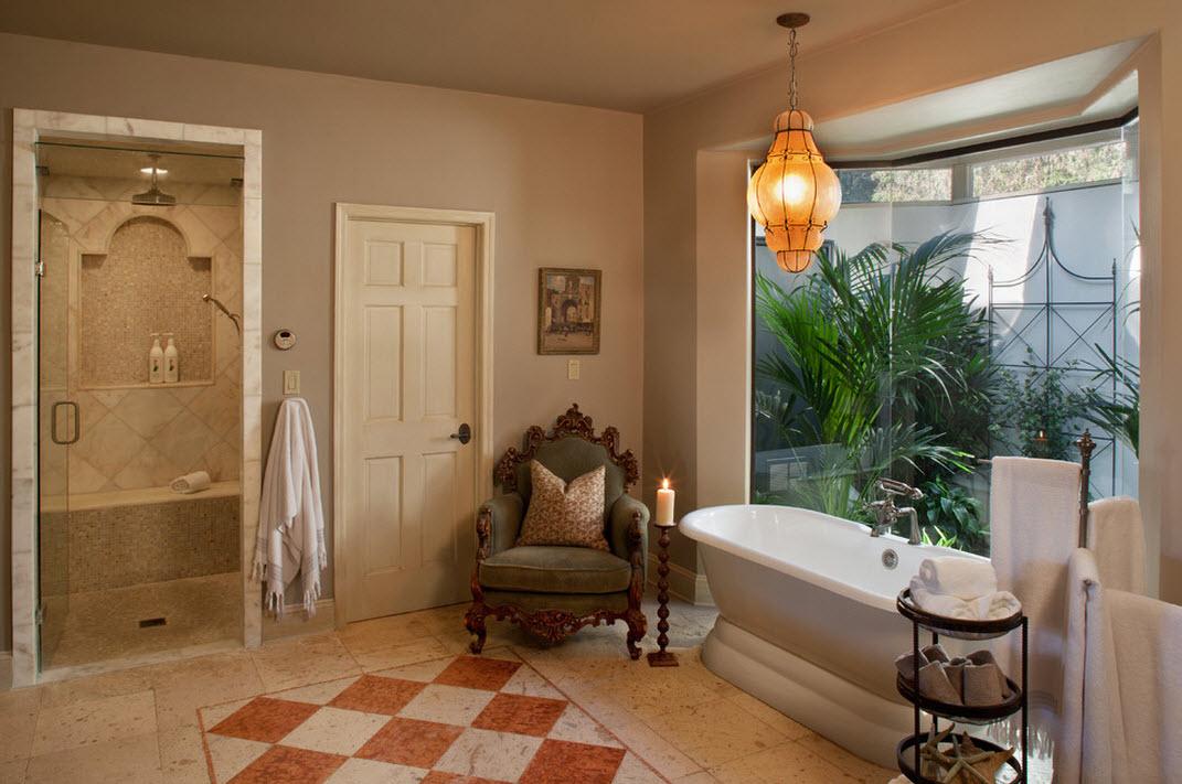 Стильная ванная в бежевых цветах
