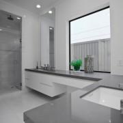 В качестве аксессуара серой ванной комнаты - одно зеленое растение
