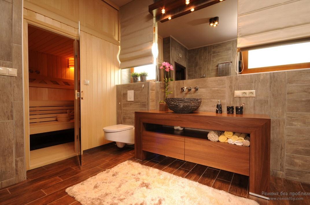 Сауна расположена в торце ванной и имеет привязку к 3 опорным стенам