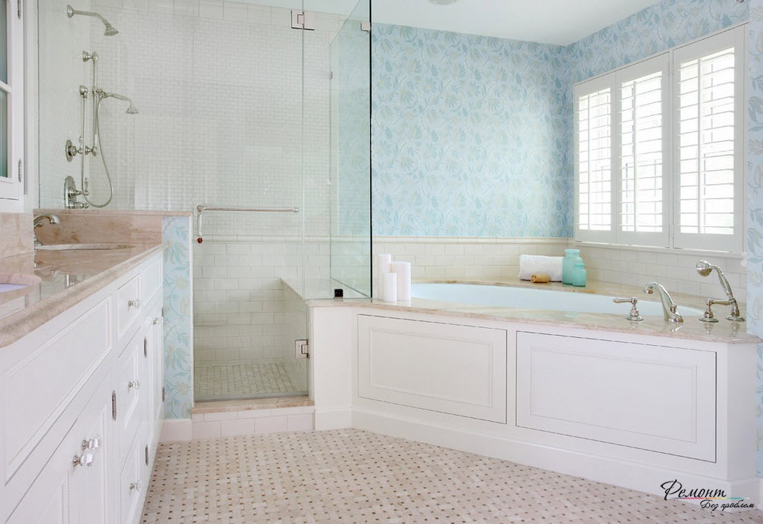 Все помещение ванной в одном стиле и смотрится гармонично