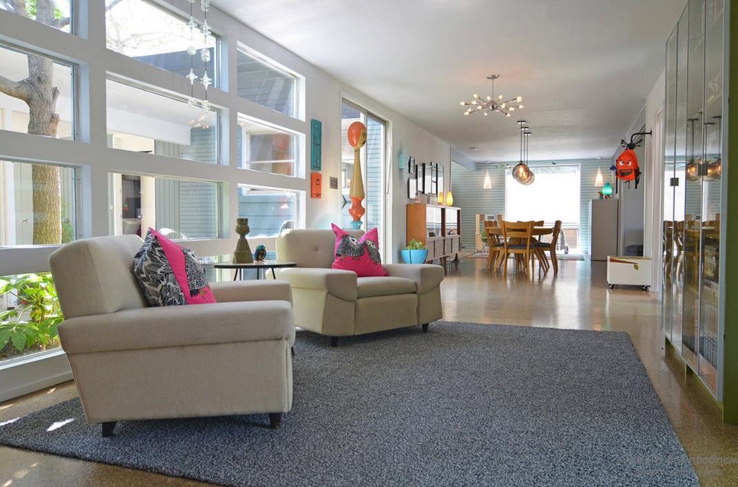 Дизайн окон большой гостиной