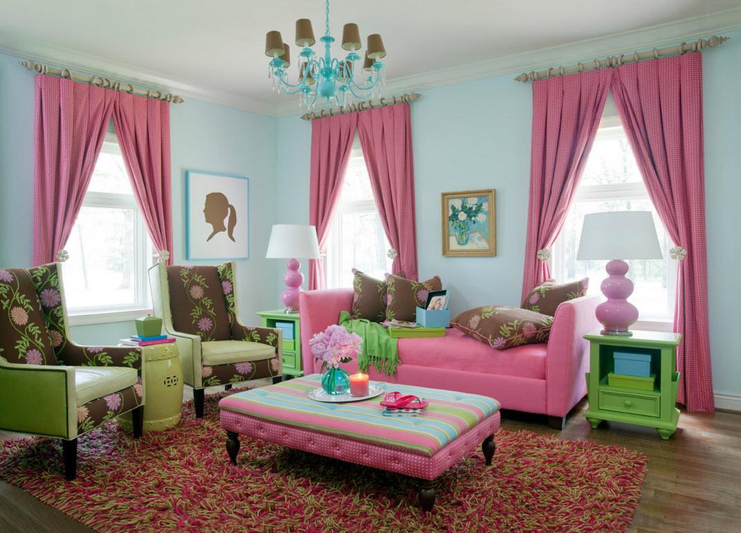 Свежесть, создающаяся за счет комбинации розового с зеленым