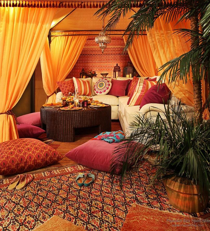 Арабский стиль, это шатер, ковры, подушки