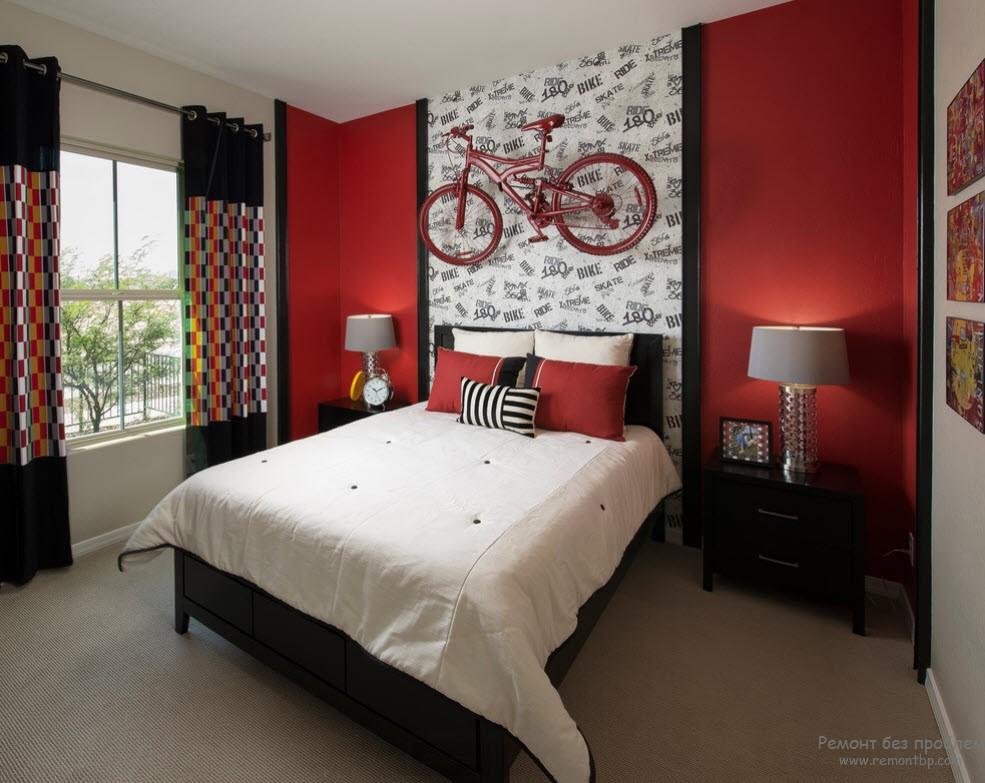 Декор красной спальни