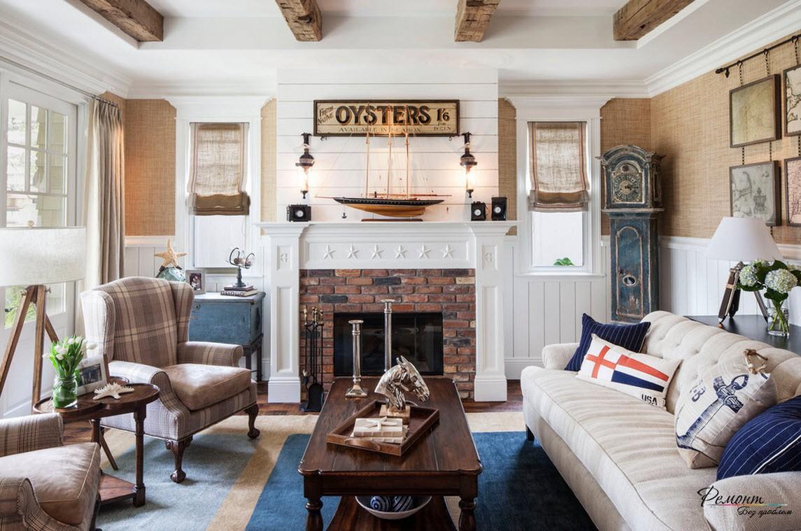 Камин, создающий тепло домашнего очага в интерьере гостиной