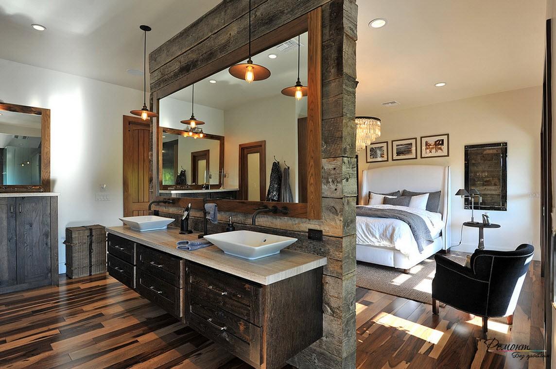 Спальня с большим зеркалом
