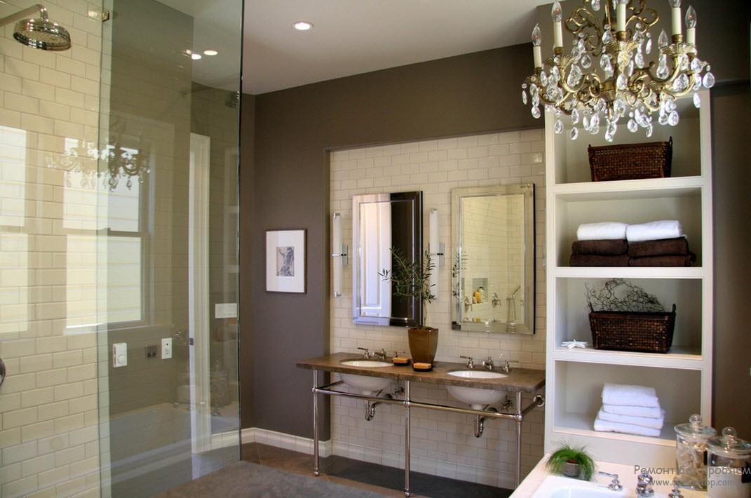 Дизайн ванной комнаты в спокойных коричневых оттенках