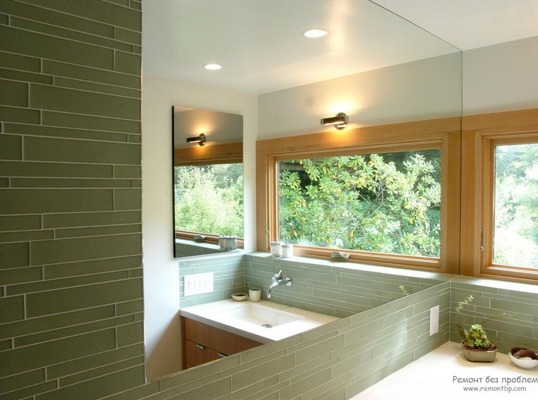 Спокойный серо-зеленый оттенок в интерьере ванной комнаты