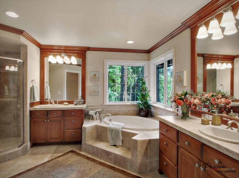 Интерьер ванной в природном стиле