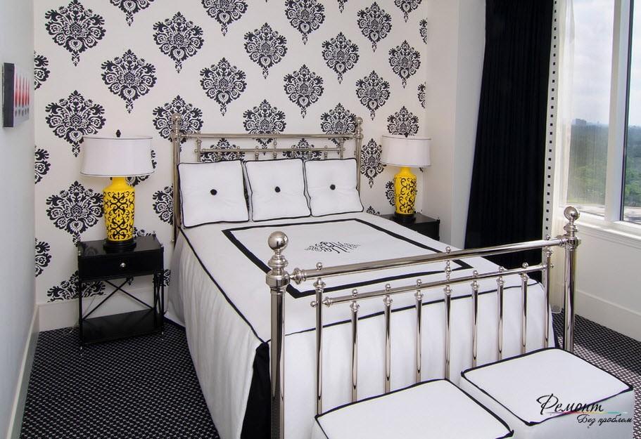 Желтые светильники в спальне