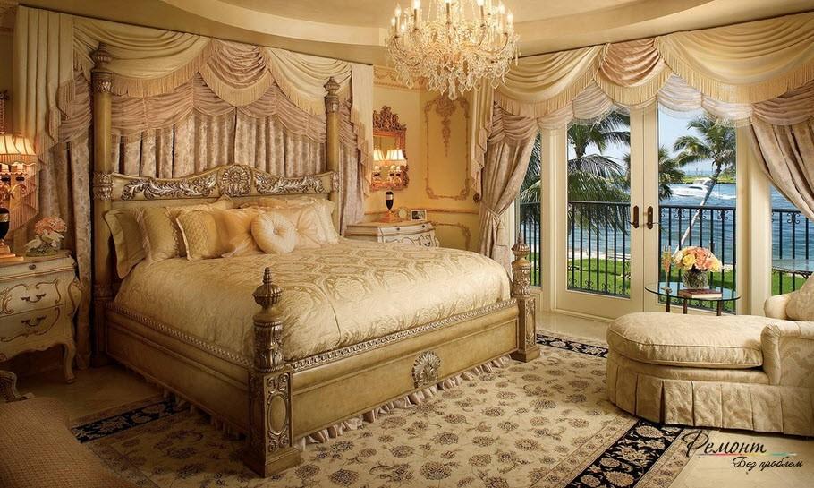 Королевское достоинство и роскошь интерьера спальни