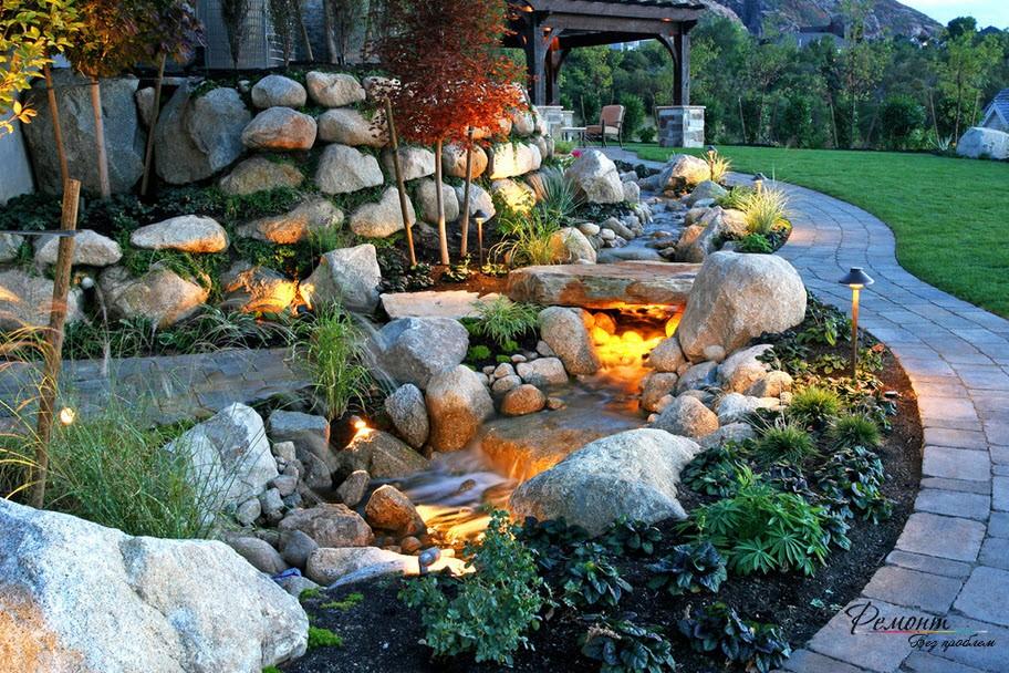 С помощью природного камня можно создать красивый дизайн