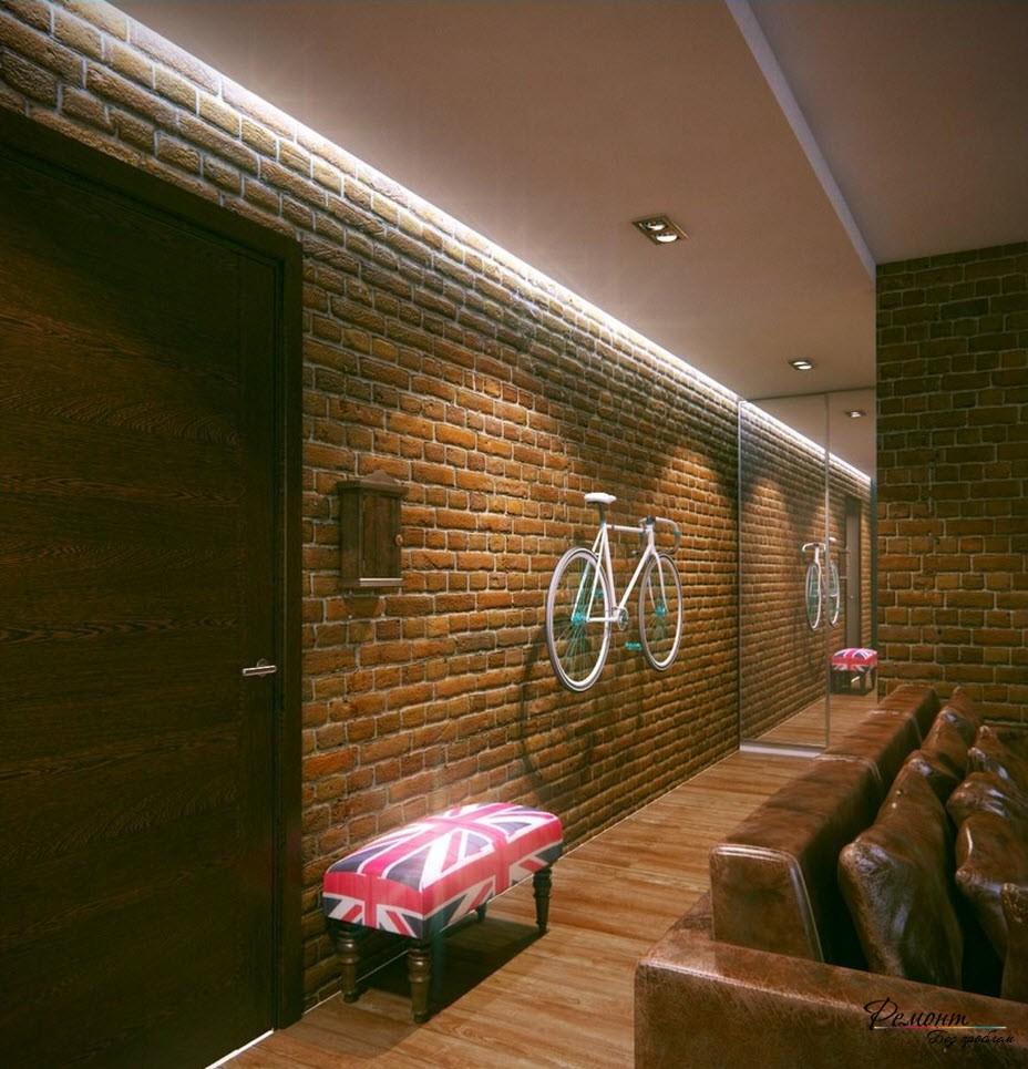 В коридоре не стоит выполнять дизайн в мрачных тонах, особенно, если он узкий и длинный