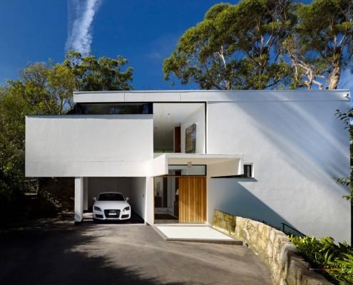 Дом и гараж с плоской крышей