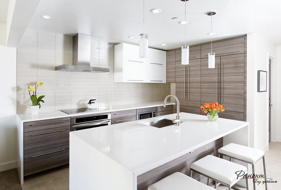 Красивый современный интерьер кухни - ничего лишнего