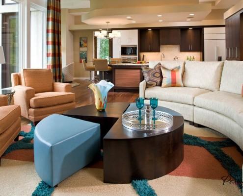 Мебель - важный акцент круглой гостиной