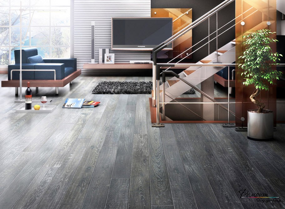 Dark gray tile floors