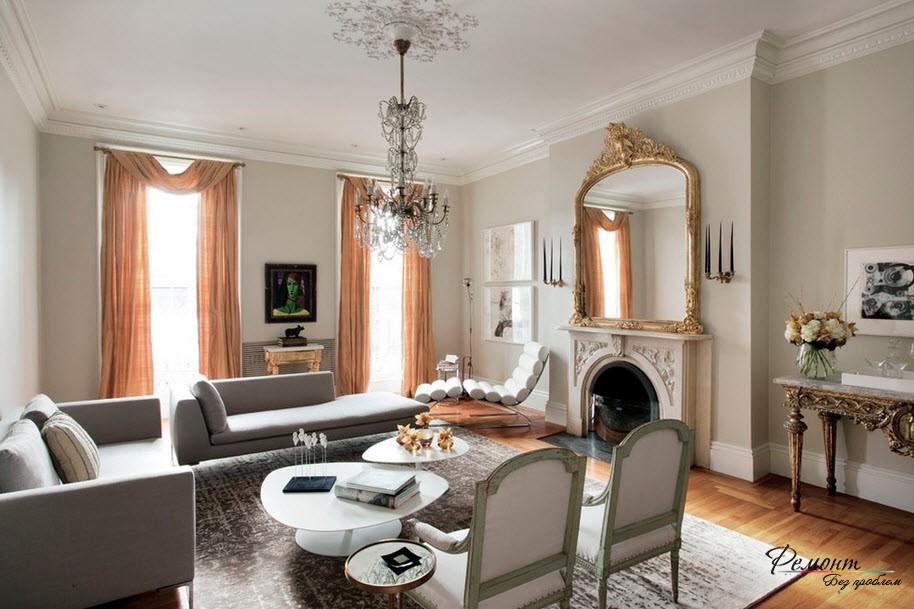 Позолота в классической гостиной
