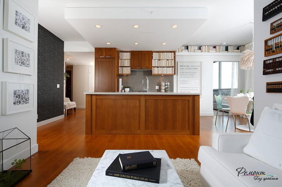 В интерьере кухни обычно черными обоями декорируется только одна стена