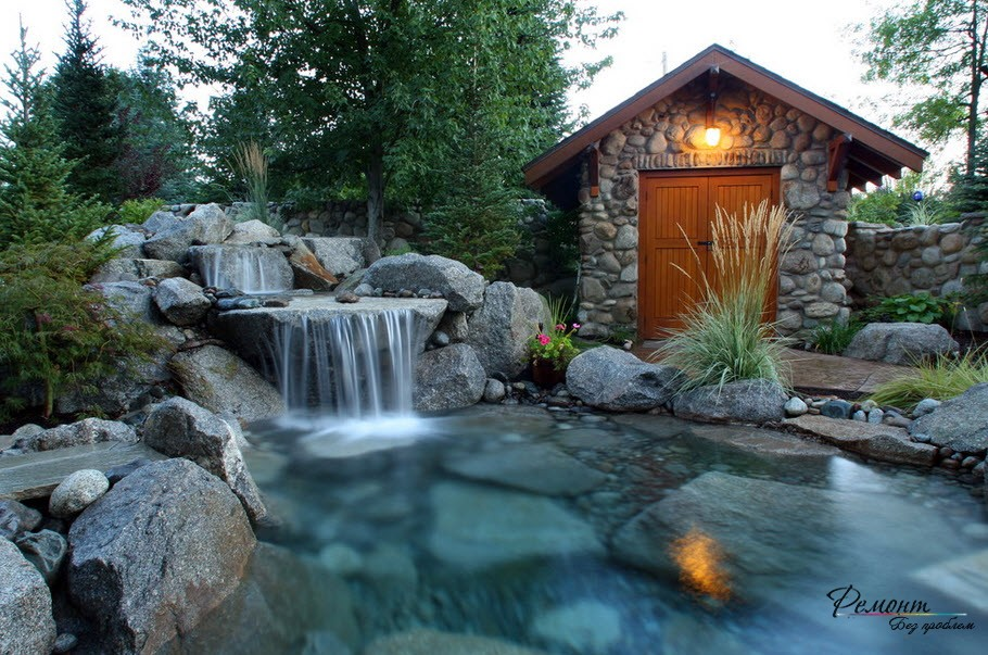 Водопад, совмещенный с искусственным прудом - отличный вариант