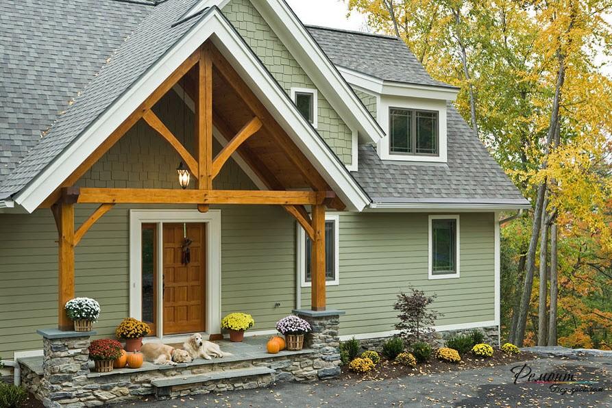 Спокойный серо=зеленый оттенок прекрасно подходит для фасада дома