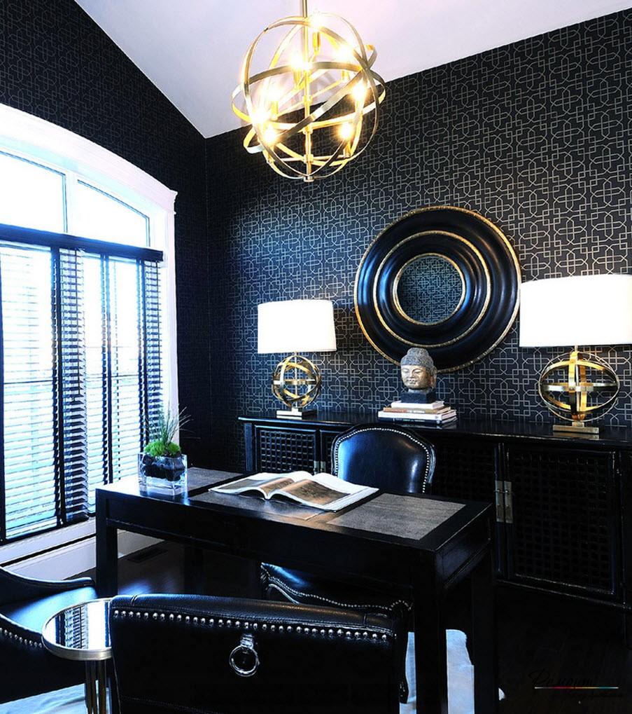 Черный цвет обоев для кабинета как нельзя лучше концентрирует внимание