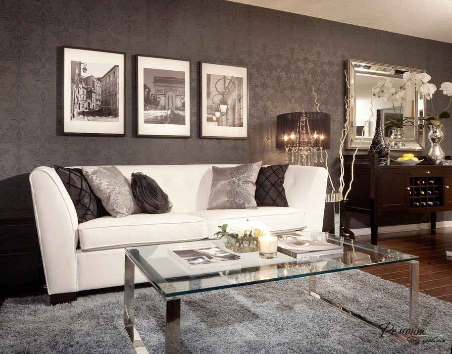 Белая мебель на фоне обоев черного цвета смотрится эффектно