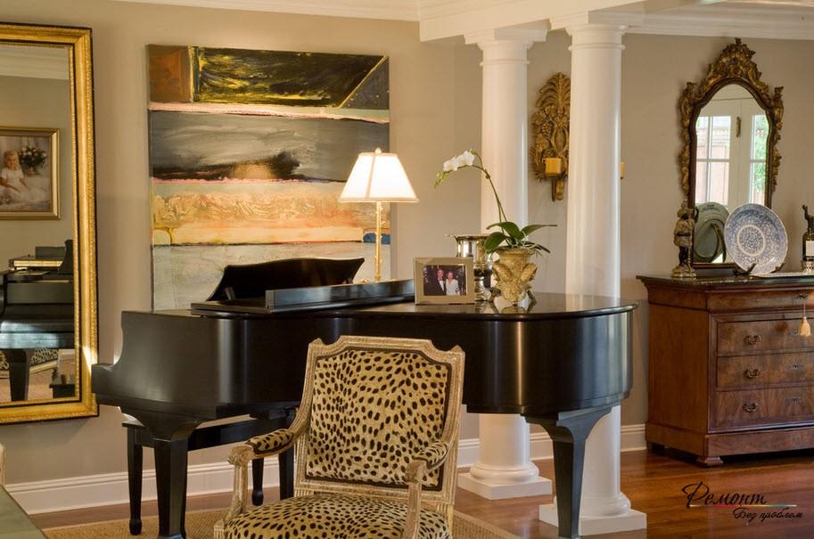 Рояль в классической гостиной