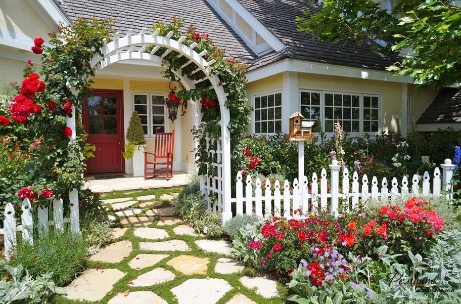 Красивый ланлшафтный дизайн с озеленением