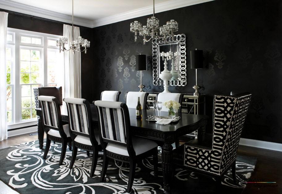 Черные обои в черно-белом интерьере столовой