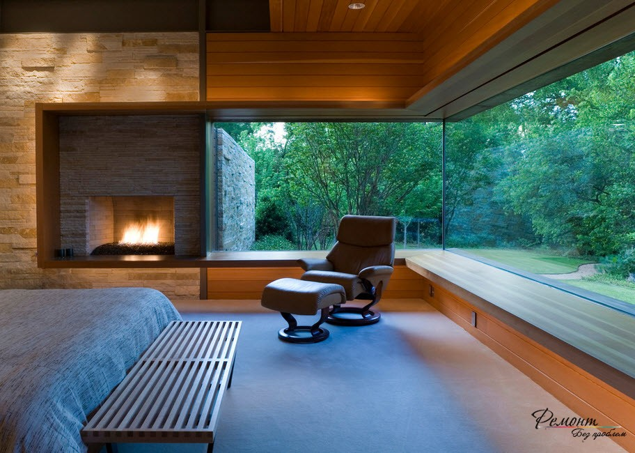 Спальня с панорамными окнами дизайн