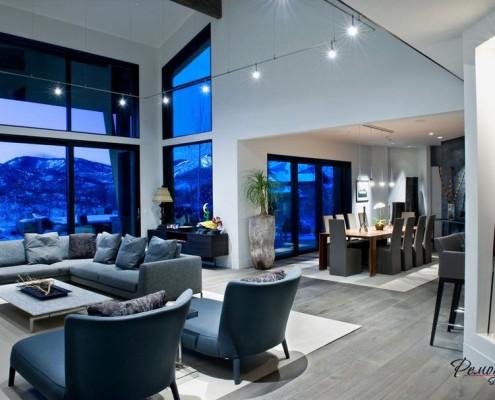Серый пол в гостиной модерн