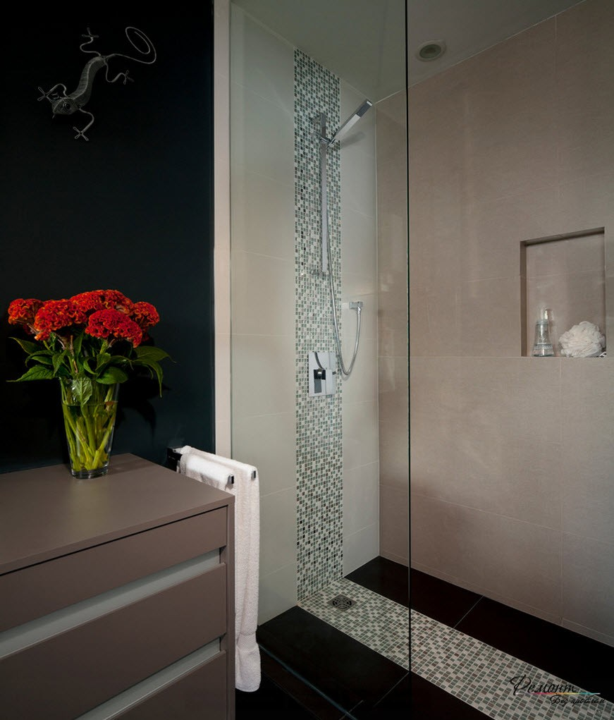 Светла душевая кабина в темной ванной